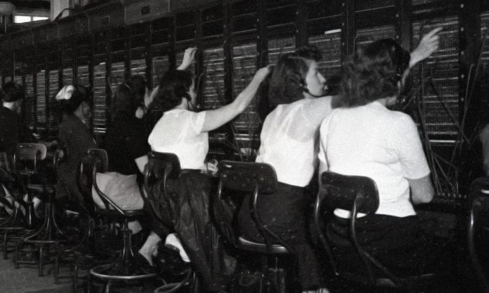 Telephone switchboard operators from the 1950's.