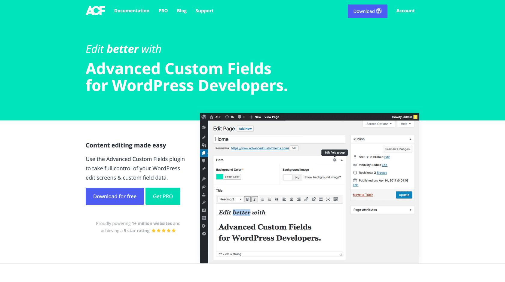 Screen shot of Advanced Custom Fields' home page
