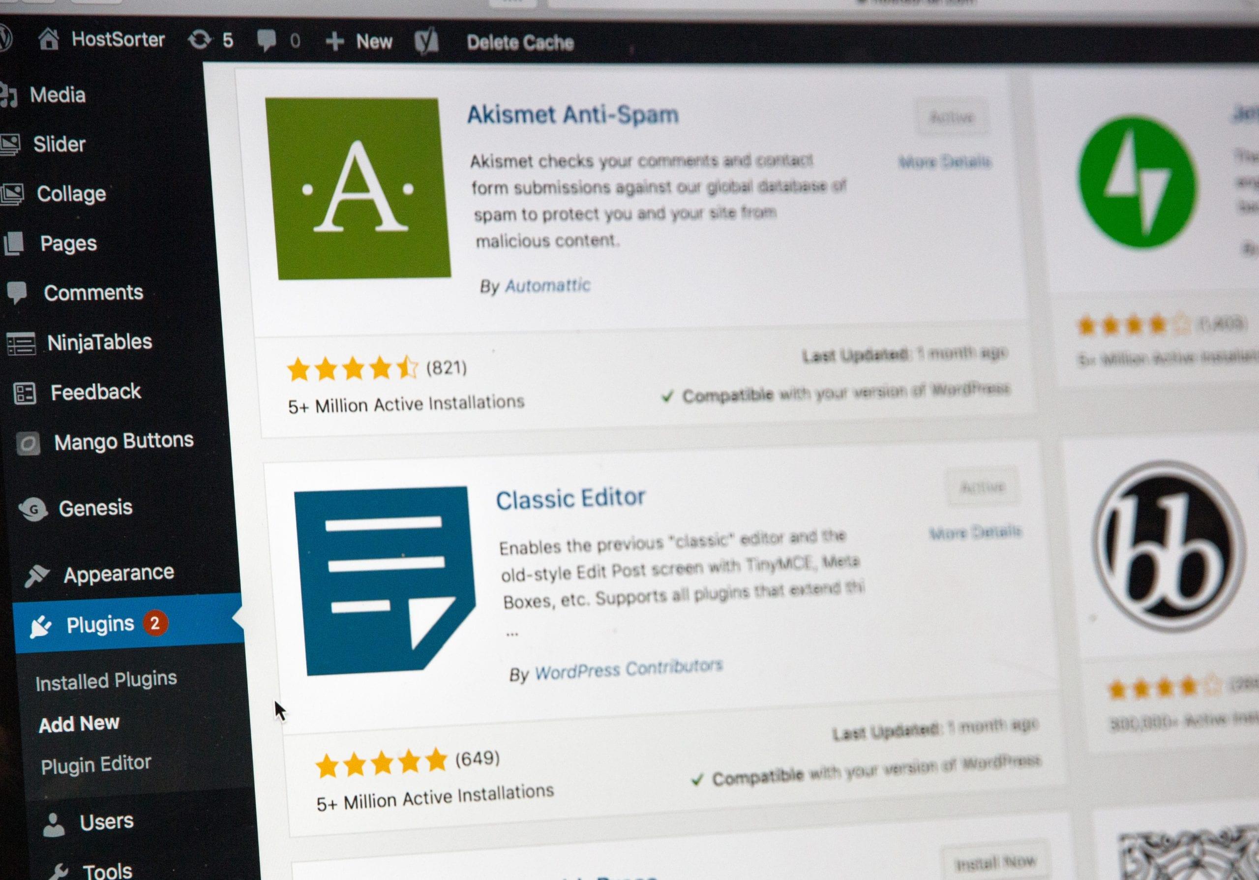 Install plugins through the WordPress admin.